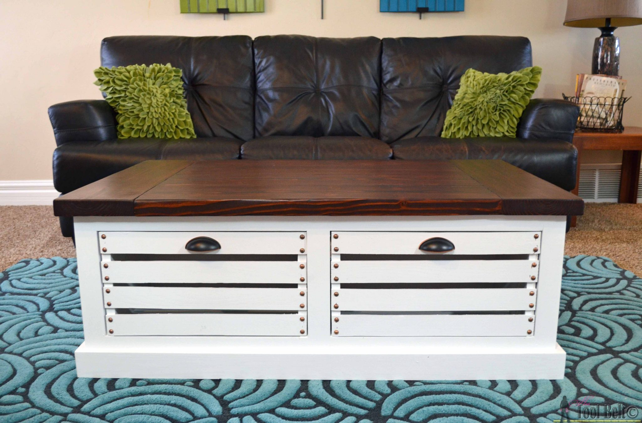 Crate storage coffee table and stools her tool belt for Unusual table plans