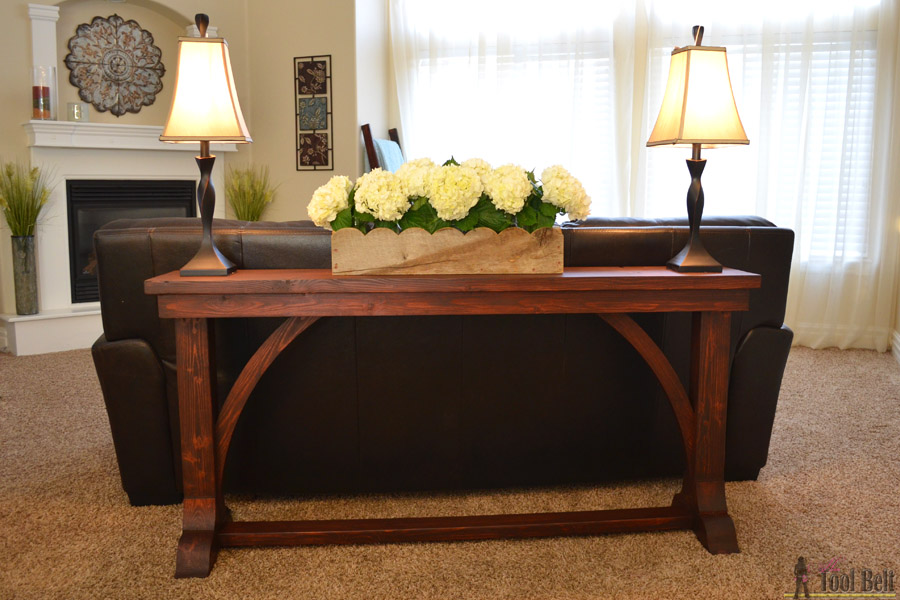 Narrow sofa table her tool belt for Slim table for behind couch