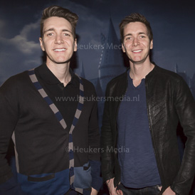 UTRECHT, THE NETHERLANDS. FEBRUARY 09, 2017. James Phelps en Oliver Phelps zijn in Nederland voor de opening van de Harry Potter expo bij Cinemec Utrecht.