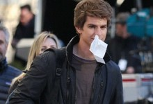 Andrew Garfield with Tissue The Amazing Spider Man Set  e1321877605522 220x150 New Set Pics From The Amazing Spider Man Are Stunt Tastic