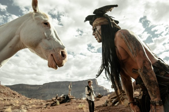 Johnny Depp in The Lone Ranger 585x389 New Image of Johnny Depp & Silver in The Lone Ranger