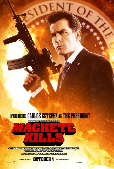 Machete Kills Character Poster Charlie Sheen Carlos Estevez 439x650 New Character Poster for Charlie Sheen / Carlos Estevez as The President in Machete Kills