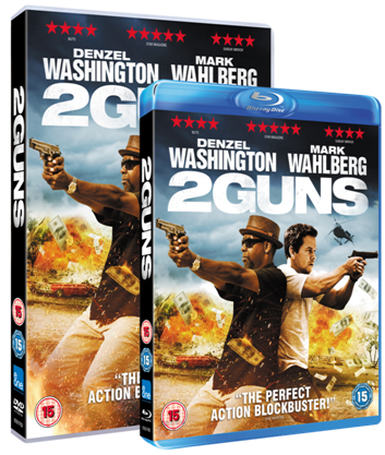 2 Guns Win 2 Guns starring Denzel Washington and Mark Wahlberg on Blu ray + Merchandise