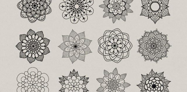 Free download ~ mandala style flower photoshop brushes ~ courtesy of www.hgdesigns.co