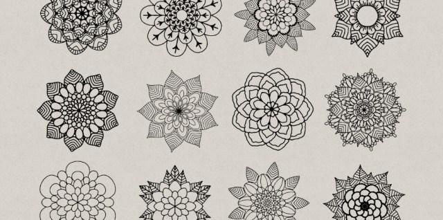 Free download ~ mandala style flower photoshop brushes ~ courtesy of www.hgdesigns.co