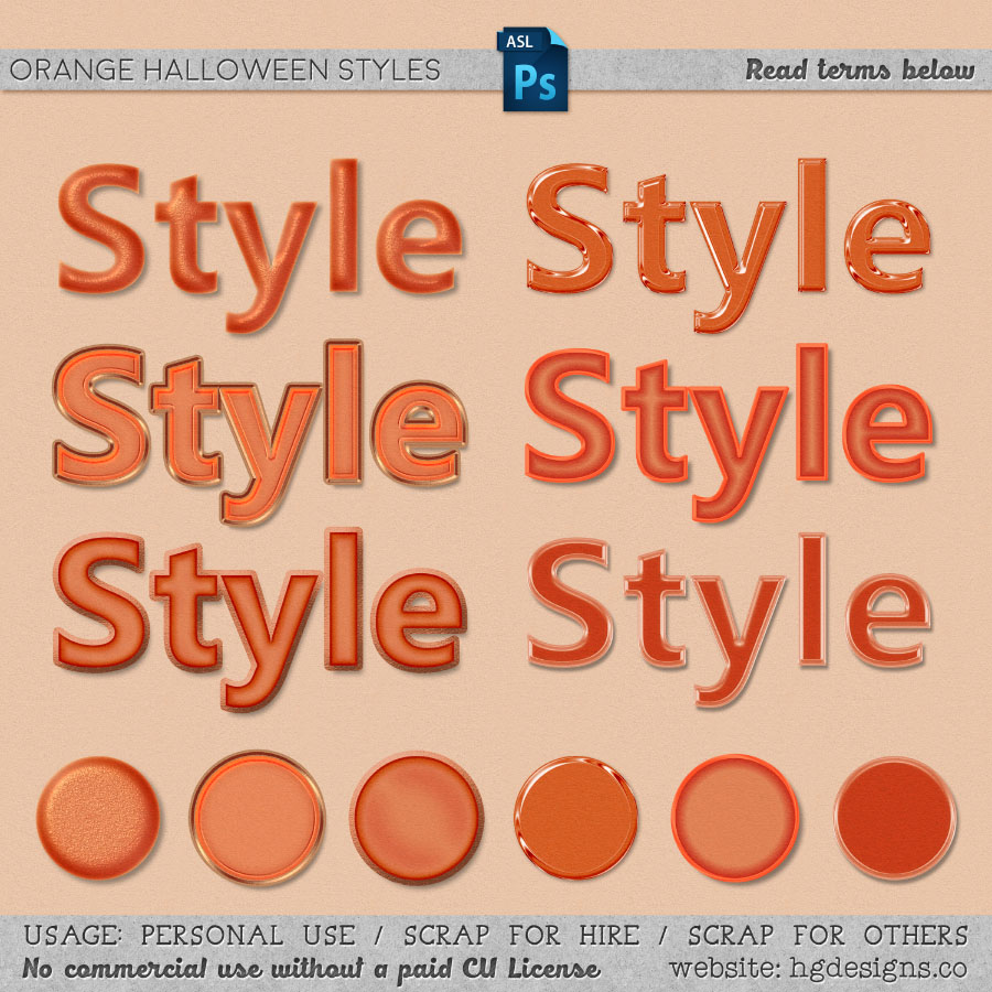 freebie: orange halloween photoshop layer styles