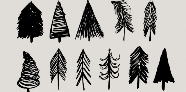 Free download ~ Sketchy holiday trees Photoshop brush set ~ courtesy of www.hgdesigns.co
