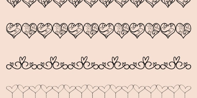 Free download ~ decorative heart border brushes ~ courtesy of hgdesigns.co
