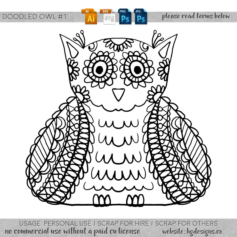 freebie: doodled owl #1
