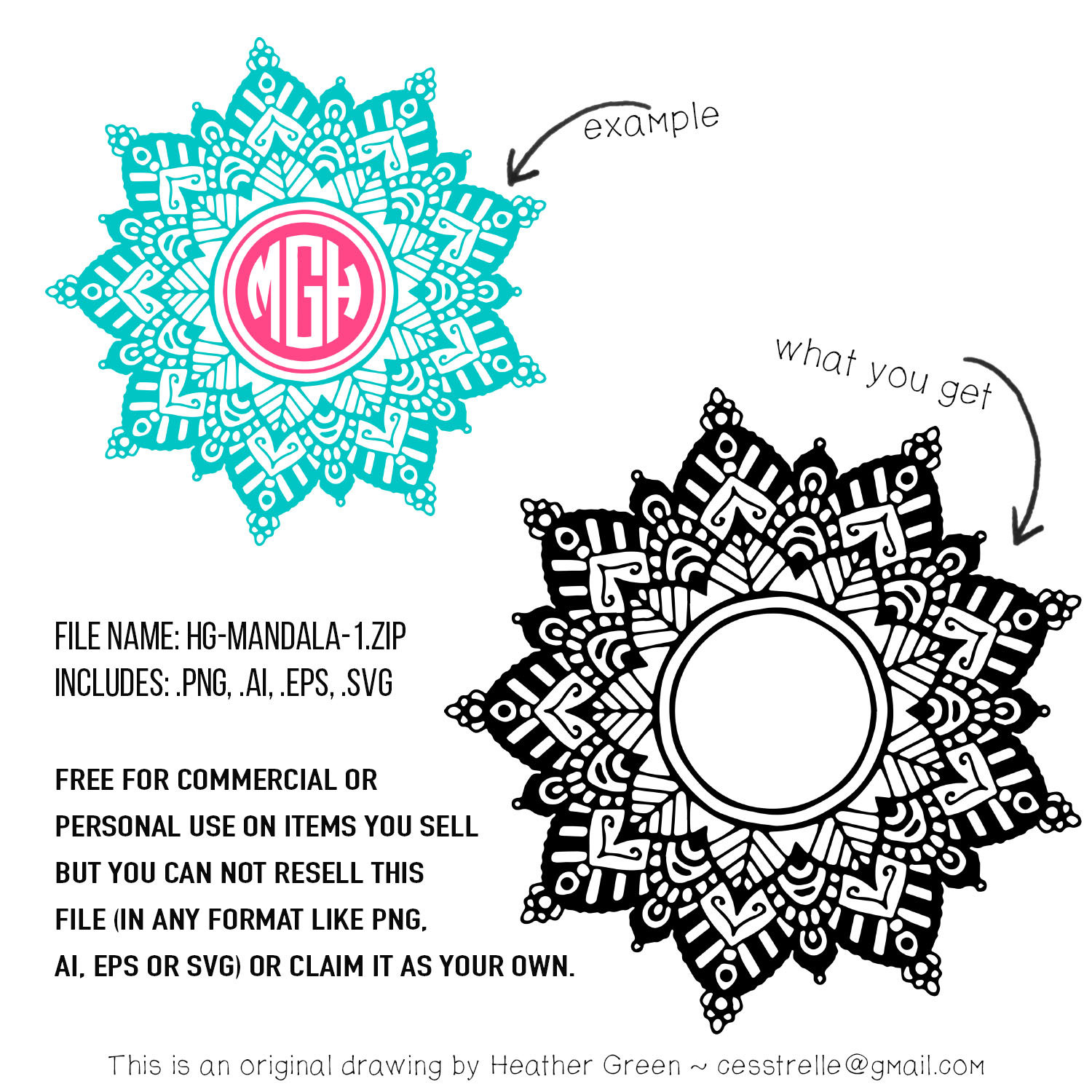 Free download ~ commercial use mandala design in png, ai, eps and svg formats ~ courtesy of hgdesigns.co