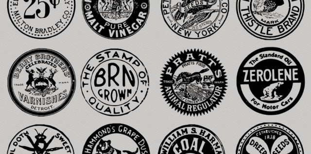 Free download ~ old round labels photoshop brush set ~ courtesy of hgdesigns.co