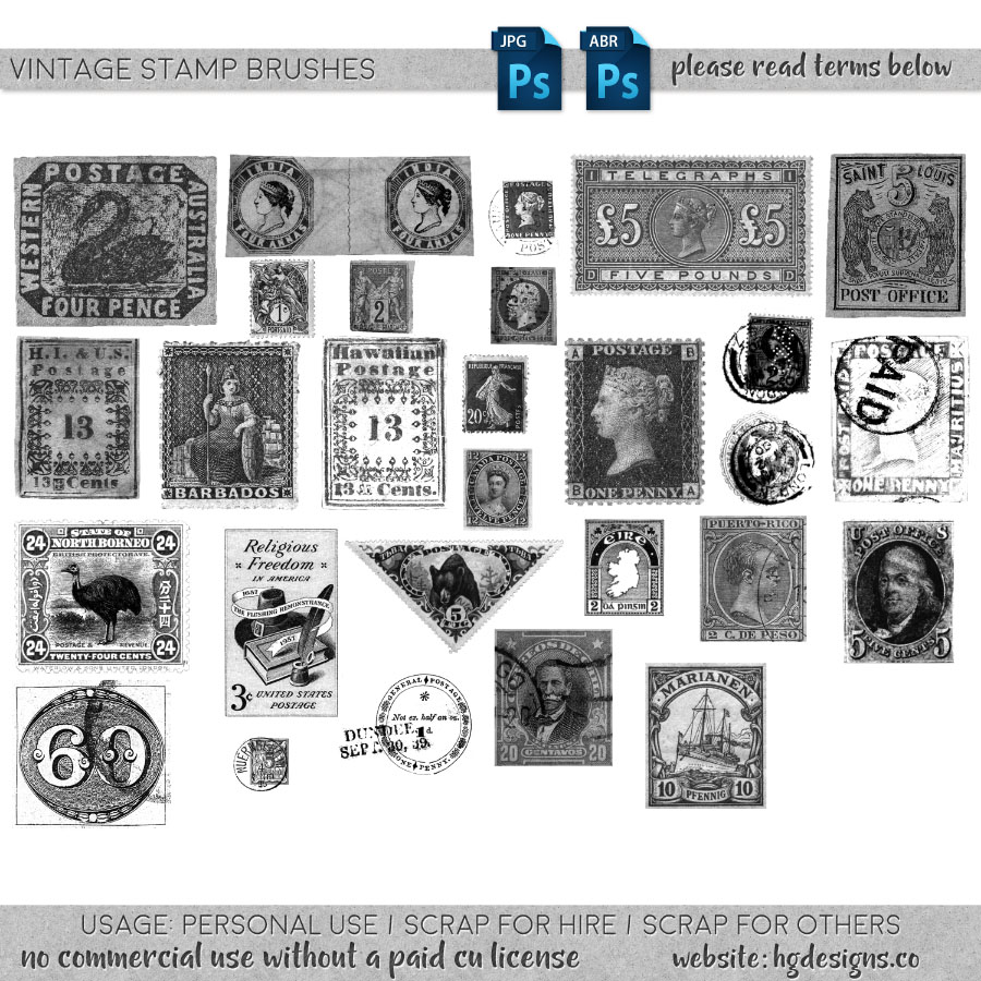 Free download ~ vintage stamp photoshop brushes ~ courtesy of hgdesigns.co