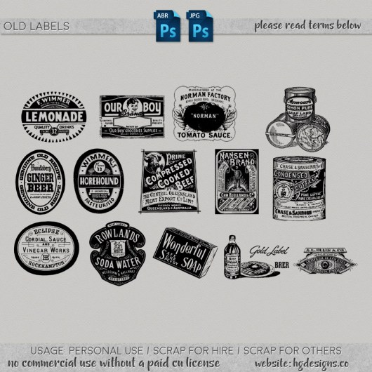 free download ~ old labels photoshop brushes plus jpg image sheet