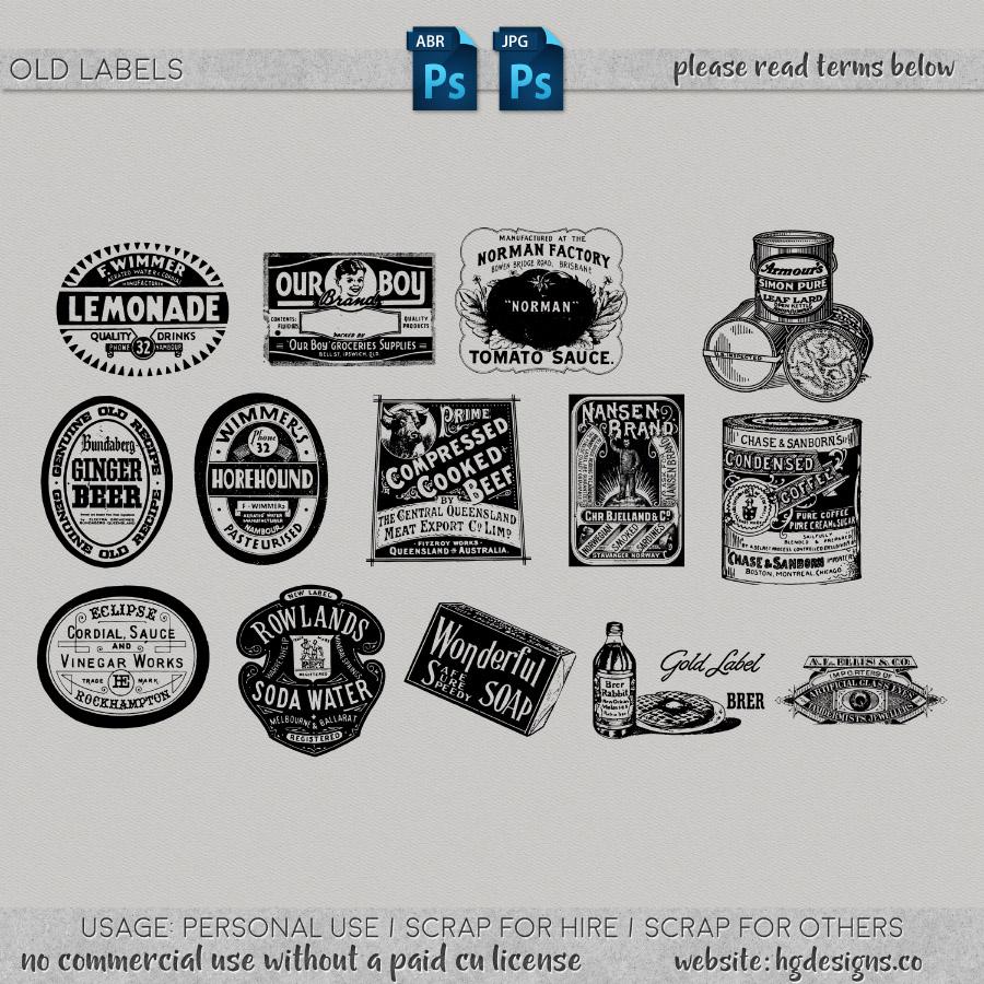 free download ~ old labels photoshop brushes plus jpg image sheet