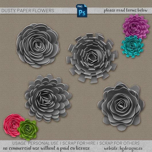 Free download ~ dusty paper flowers in png format