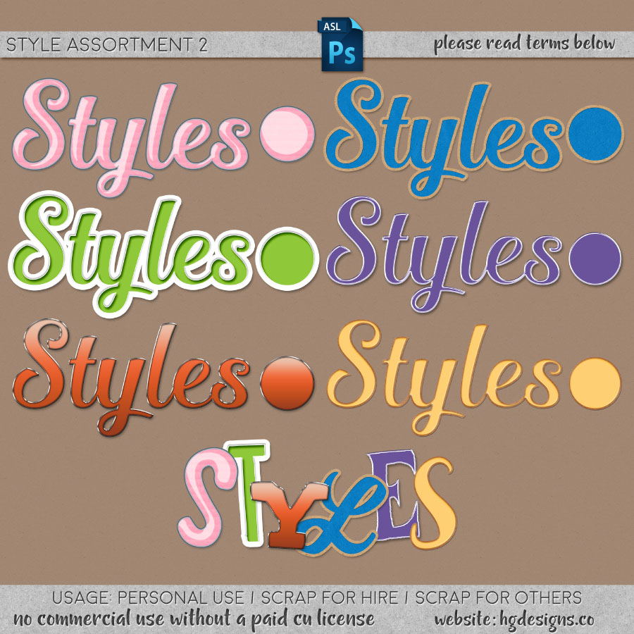 Free download ~ assorted layer styles for use in photoshop