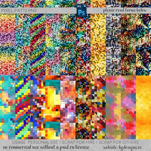 free download ~ seamless tiling pixel patterns in jpg format and photoshop .pat file format