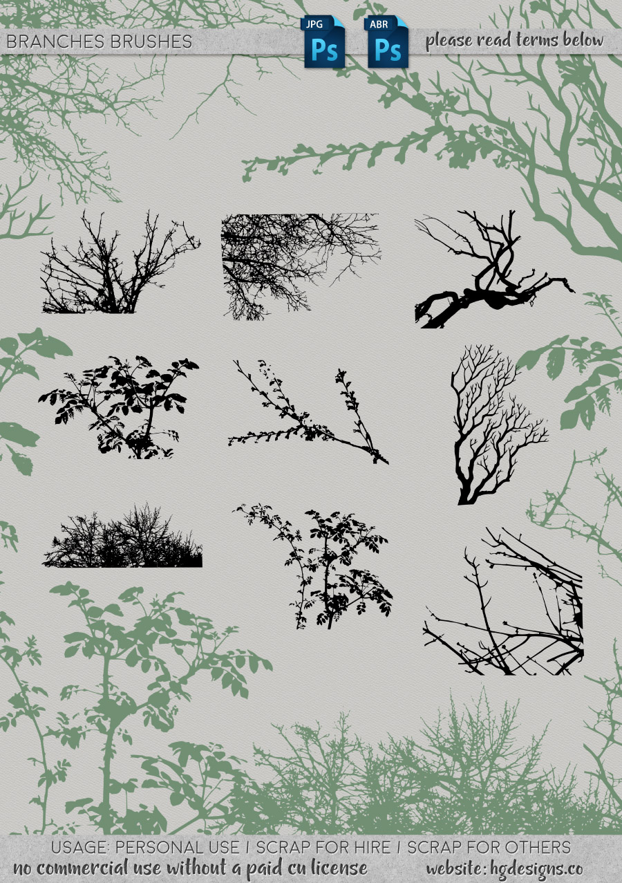 freebie: branches photoshop brushes