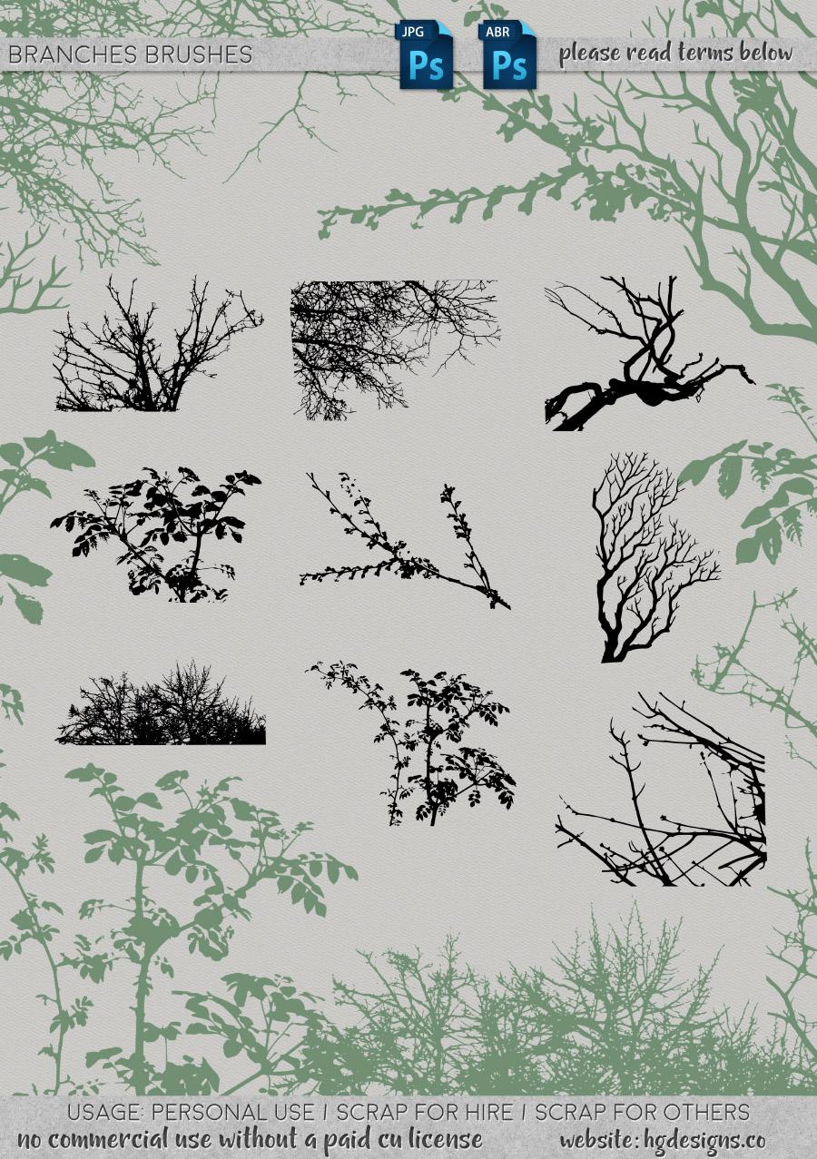 freebie: branches photoshop brushes