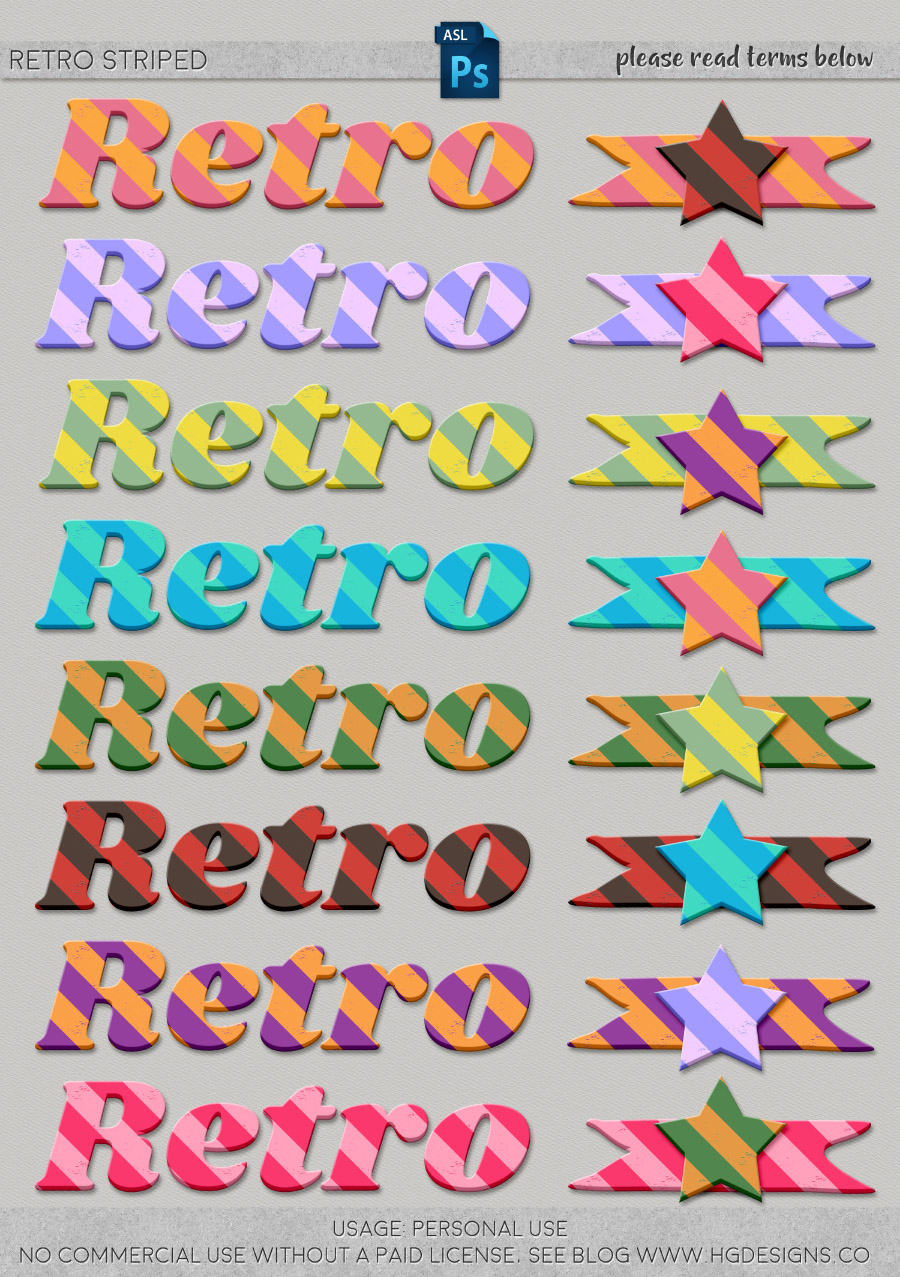 freebie: retro striped photoshop layer styles