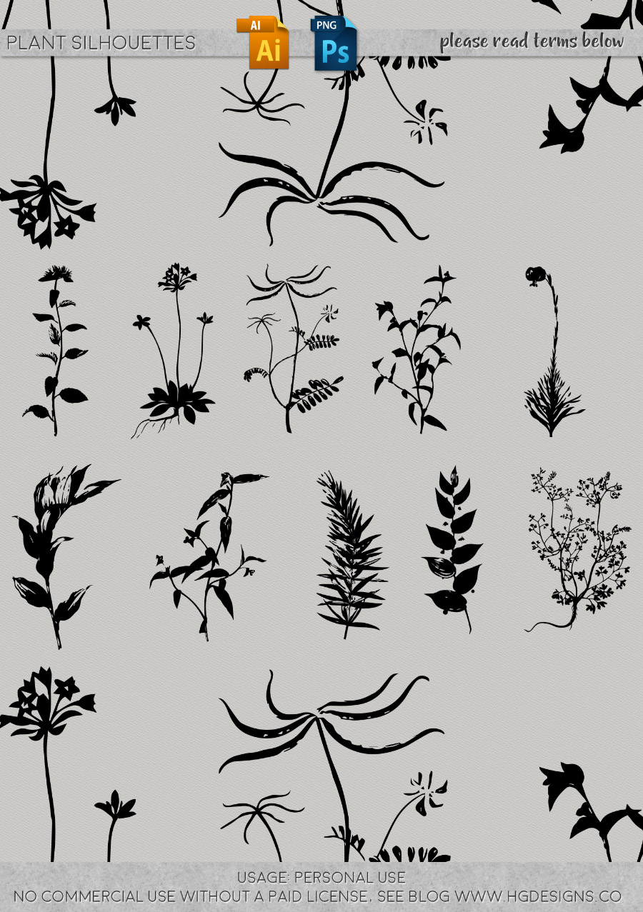 freebie: plant silhouettes graphics and vectors