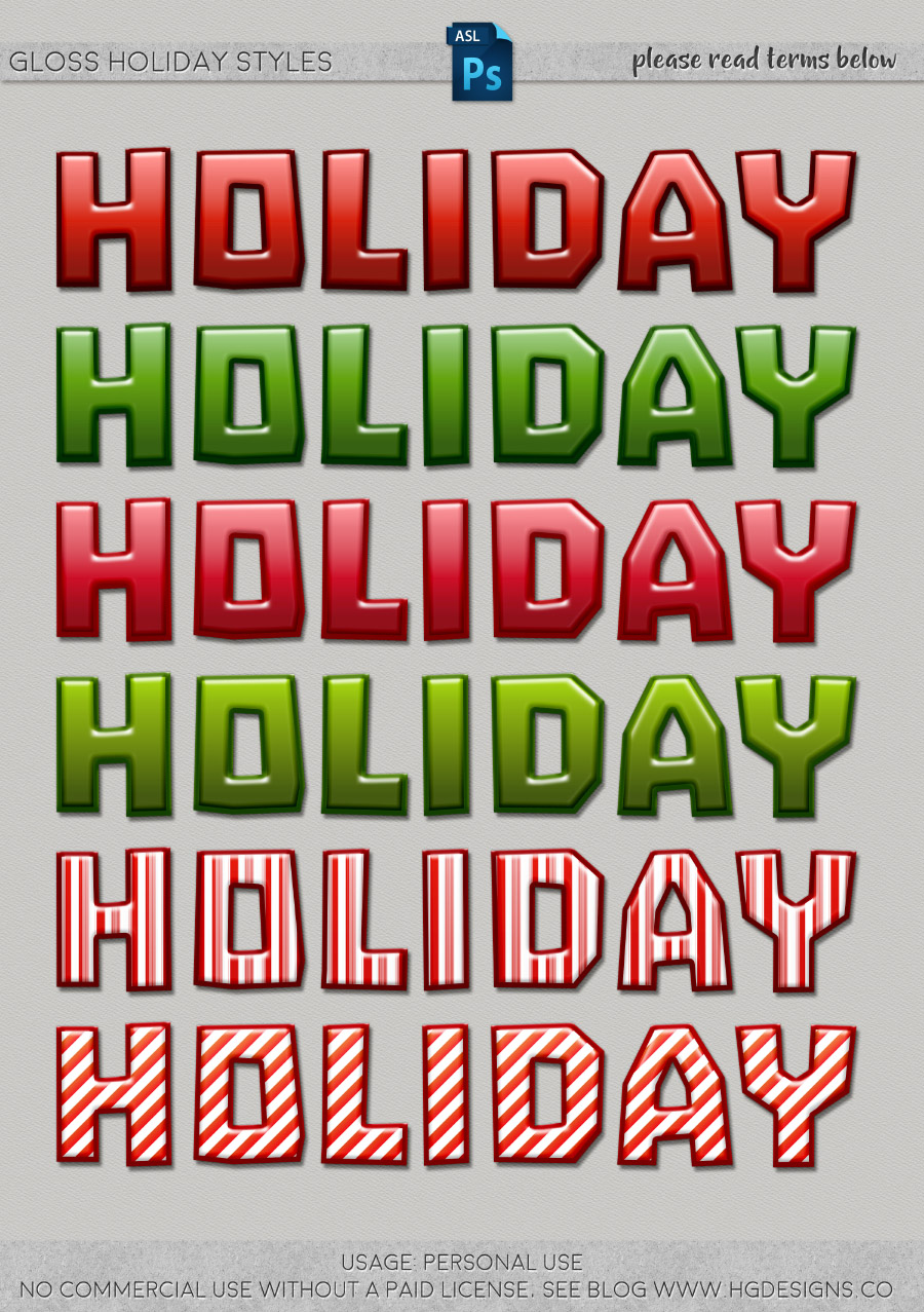 freebie: holiday gloss photoshop layer styles