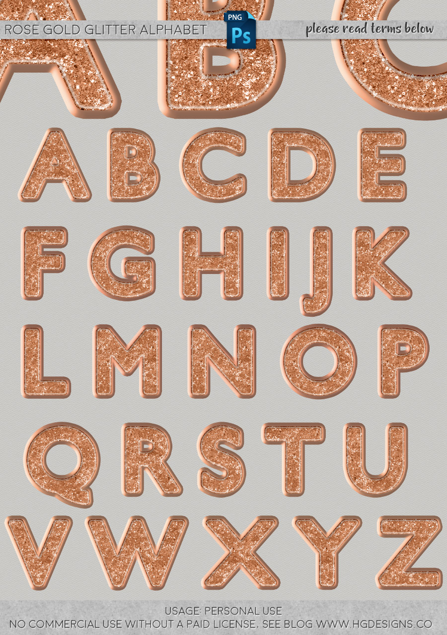 freebie: rose gold glitter png alphabet