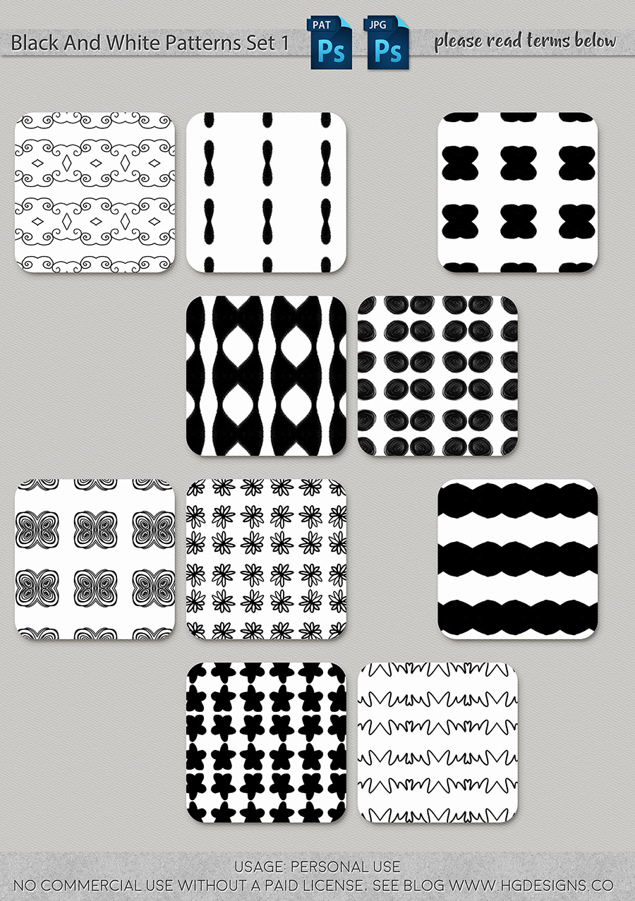 freebie: seamless tiling black and white patterns set 1
