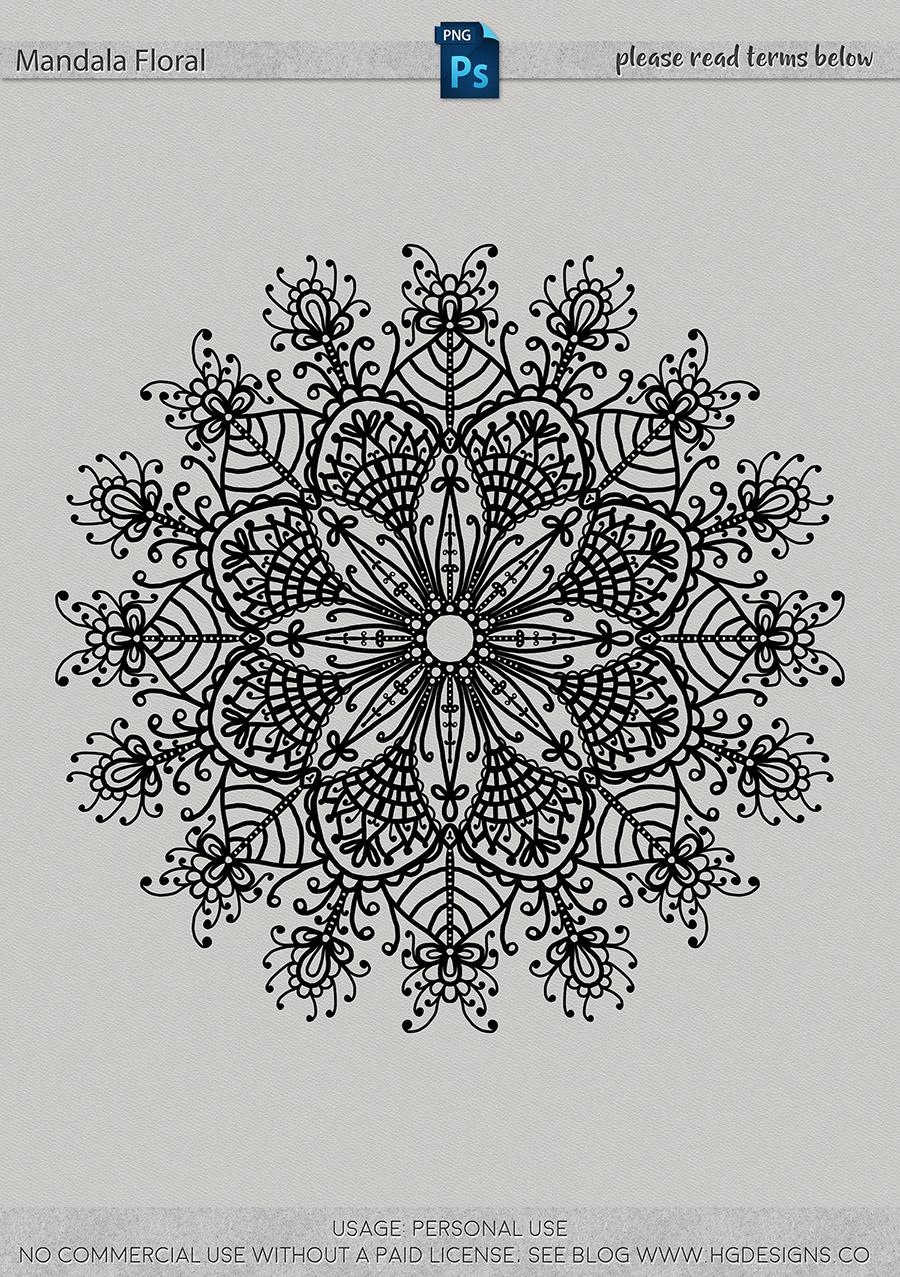 freebie: floral mandala in png format