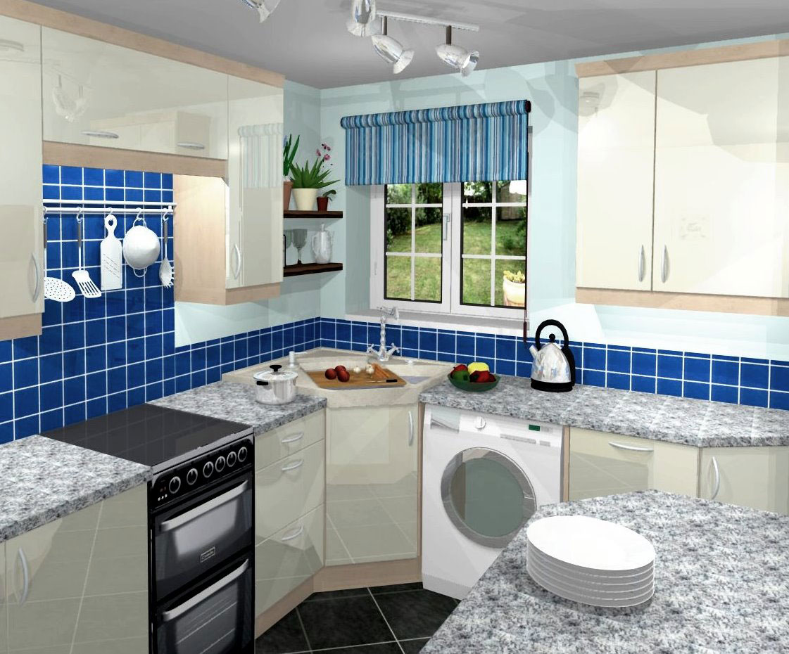10 small kitchen design ideas will worth money small kitchen remodeling VIEW IN GALLERY blue small kitchen remodelling ideas with white hanging cabinets