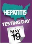 Hepatitis Testing Day (May 19) badge.