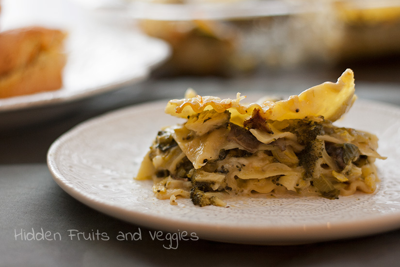 Broccoli and Spinach White Lasagna