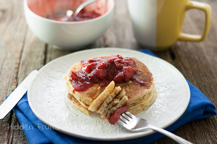 Lemon Ricotta Pancakes with Strawberry Sauce