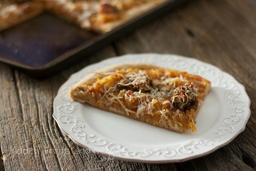Spaghetti Squash and Meatball Pizza @hiddenfruitnveg