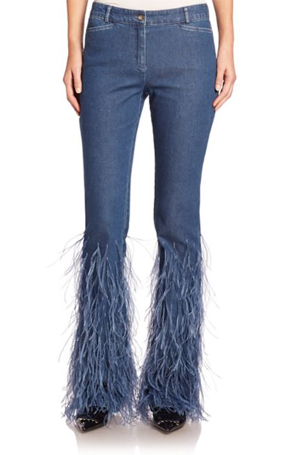 denim ostrich feather jeans michael kors