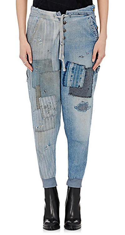 denim patchwork drop-crotch lounge pants