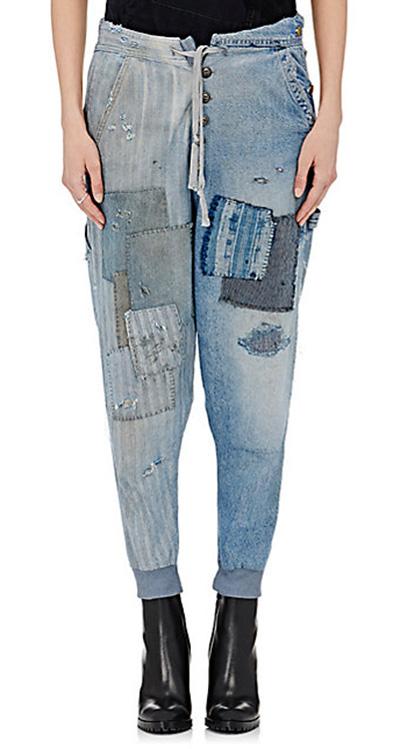 denim patchwork drop-crotch lounge pants