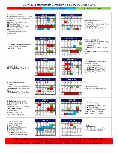 Events Calendar | Highland Community School