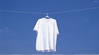 White T Shirt Hanging N Blue Background HD Wallpaper