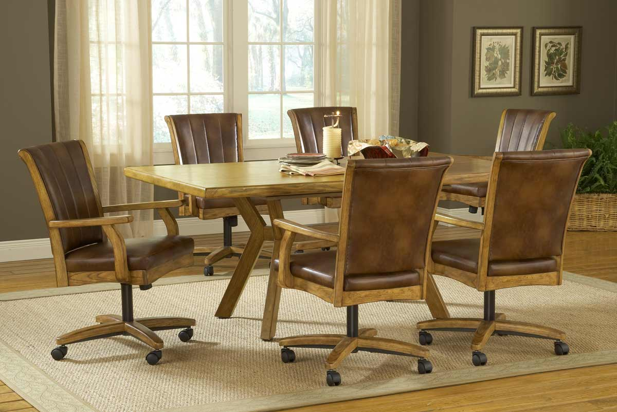 dining set with caster chairs kitchen chairs with rollers Hillsdale Grand Bay Rectangle Dining Set with Caster Chair Oak Dining Set with Caster Chairs