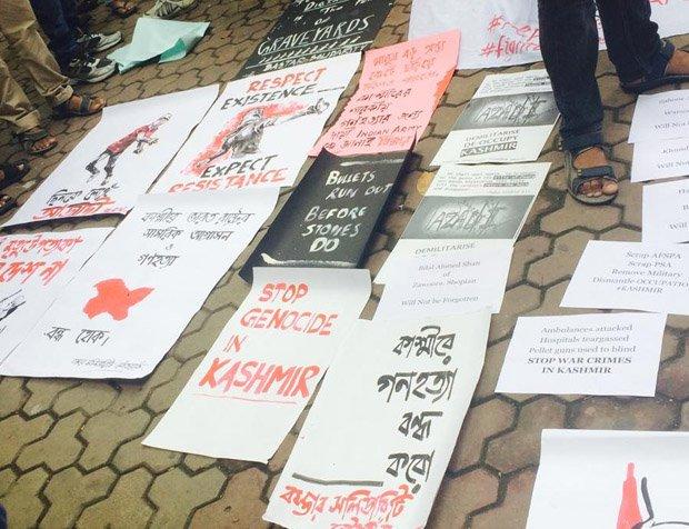 Protests in Kolkata for Kashmir's 'azadi'. Source DNA India