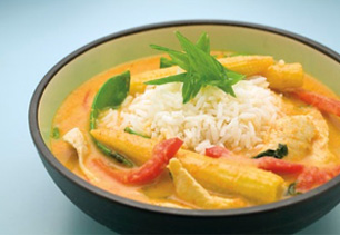 CHICKEN AND RICE LAKSA dish