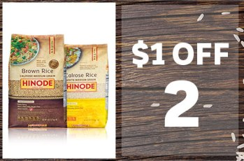 Hinode Calrose White & Hinode Calrose Brown rice on white background with wood plank background an coupon text in white $1 OFF 2