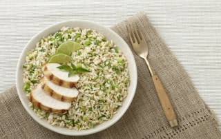 Hinode Rice with chicken and lime.