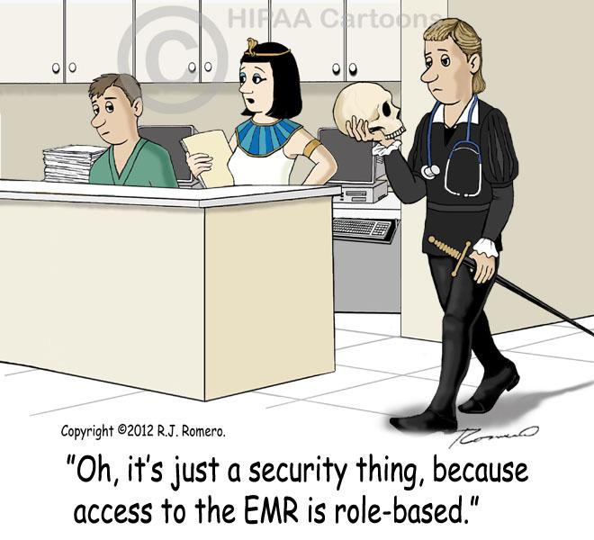 Cartoon-Nurse-tells-new-nurse-that-access-to-EMR-is-role-based_emr121
