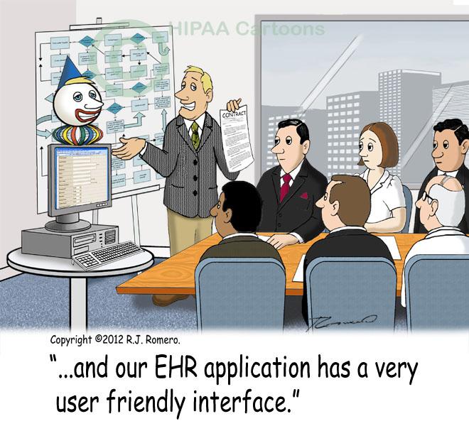 Cartoon-salesman-tells-medical-staff-that-ehr-system-has-very-user-friendly-interface_emr127