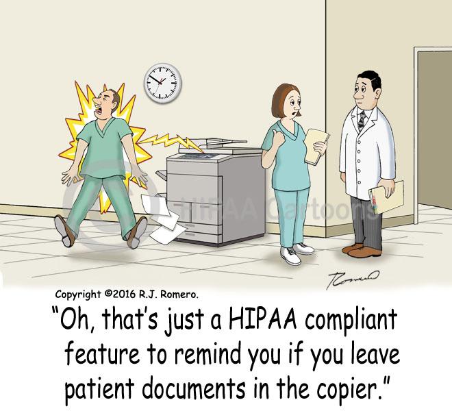 Patient Documents Left in Copier | HIPAA Cartoons