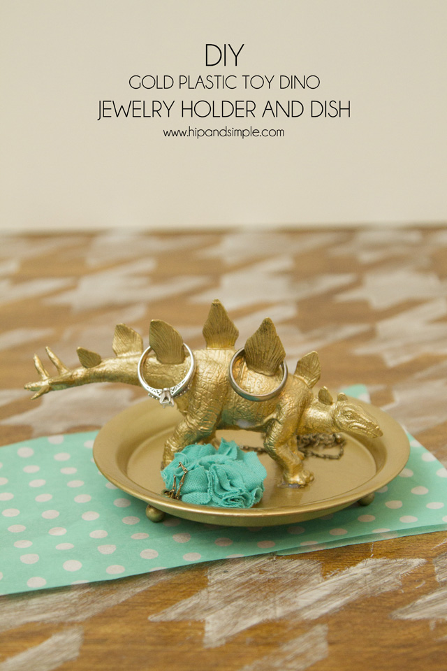 Diy Toy Holder : Diy gold plastic toy dino jewelry holder and dish hip