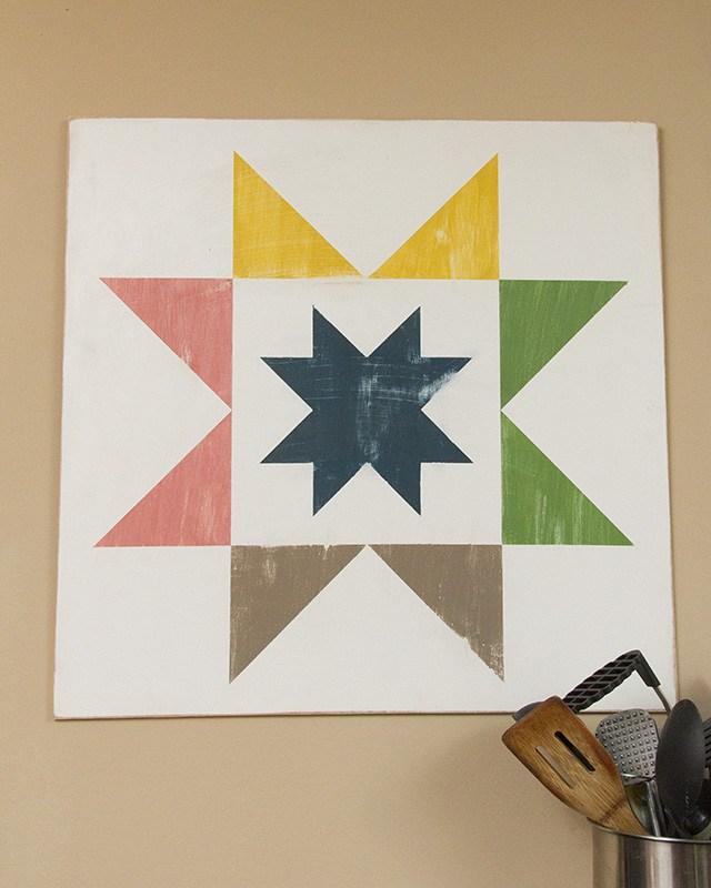 Quilt Block Wood Painted DIY Decor - Final 2