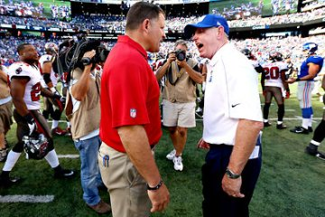 Tom Coughlin's (right) face looked like Greg Schiano's shirt after the final play on Sunday's Bucs/Giants game. Ironically, Coughlin had just spent the last three hours doing the same thing Schiano tried to do...win the game.